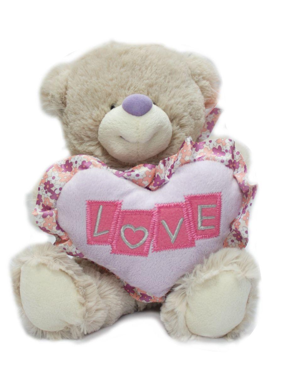 White Heart Teddy in Lavender Box