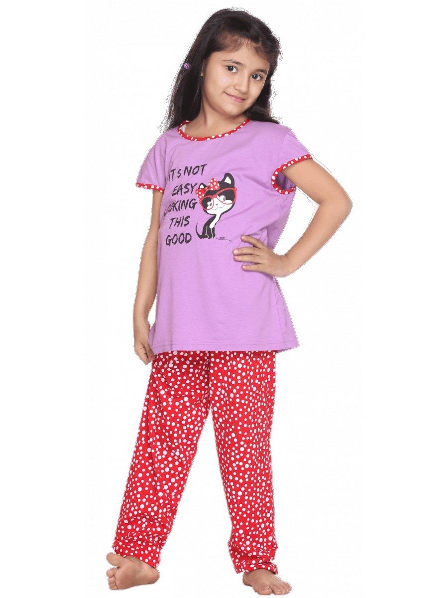 Kanvin Lilac   Rose Pyjama Set for Girls