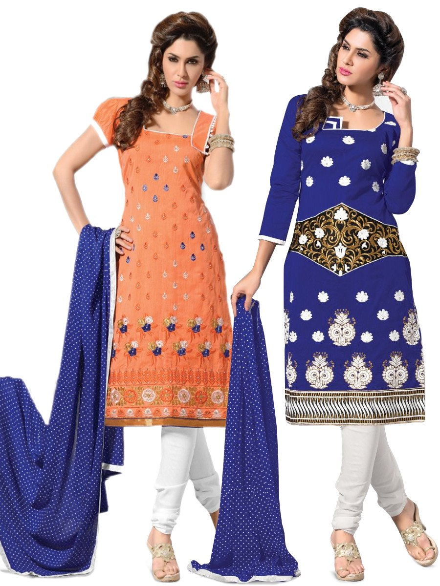 Pack of 2 Blue   Orange Embroided Unstitched Daily Wear Suit