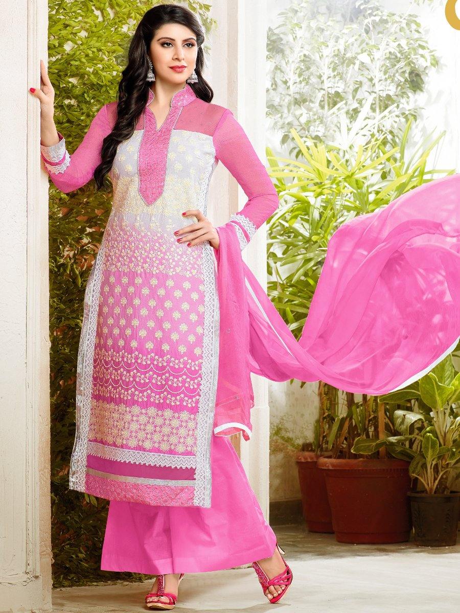 2 in 1 Style Pink   White Cotton Semi Stitched Suit