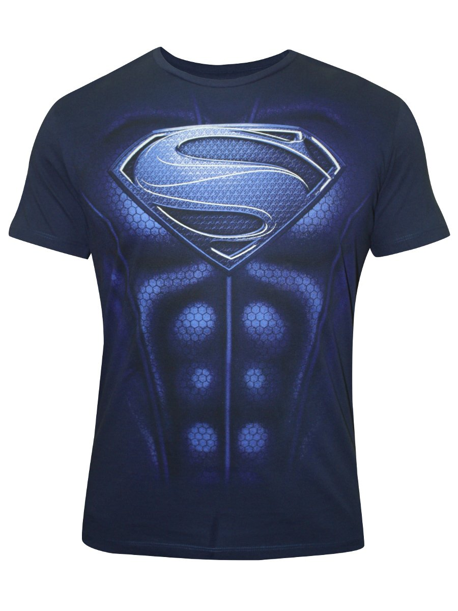 Buy t shirts online man of steel blue round neck t shirt for Man of steel t shirt online