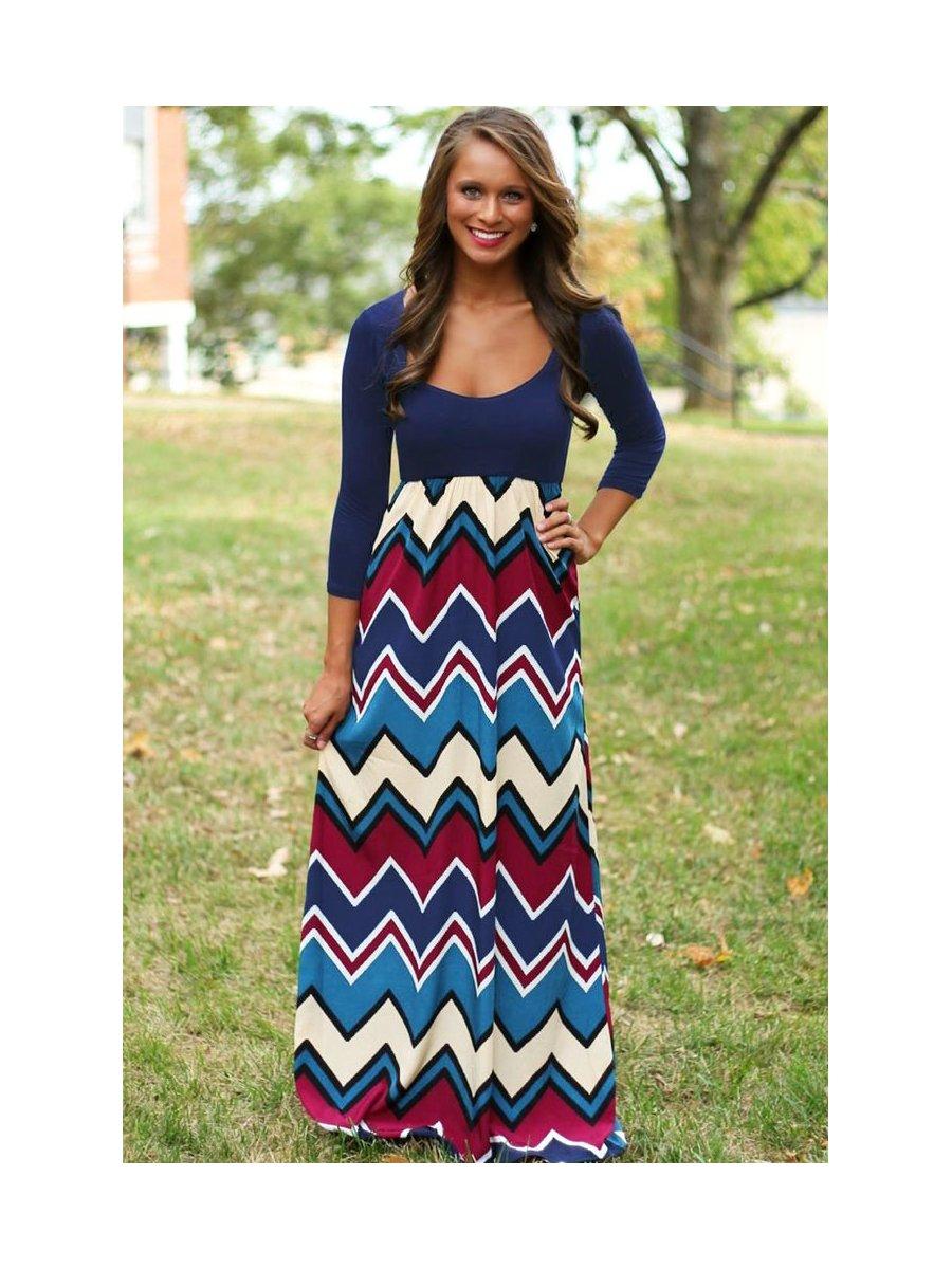 4f70fd7b0c Best Day Ever Chevron Print Maxi Dress