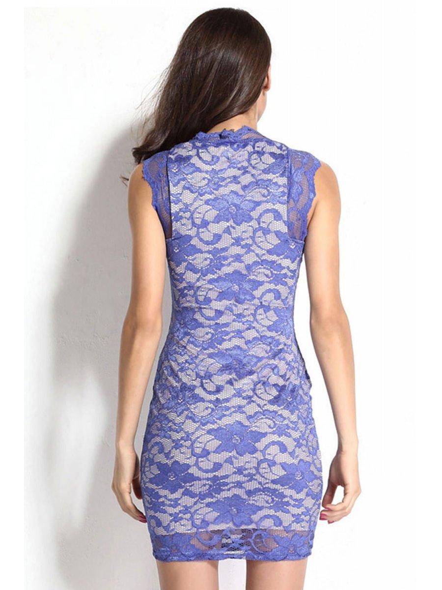 Royal-blue Lace Illusion Vintage Dress | E21036 | Cilory.com
