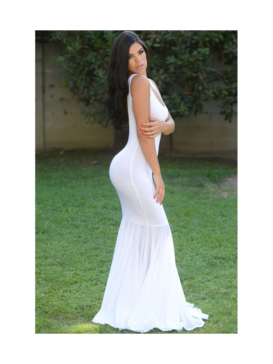 white backless mermaid maxi dress e602151 cilorycom