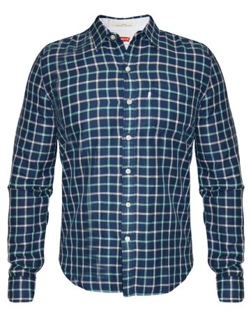 Levis Blue Casual Check Shirt at cilory