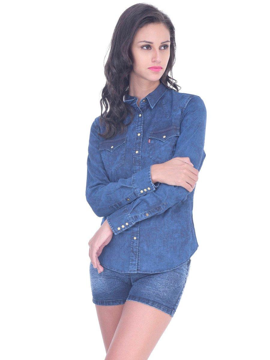 Levis Denim Blue Women Shirt