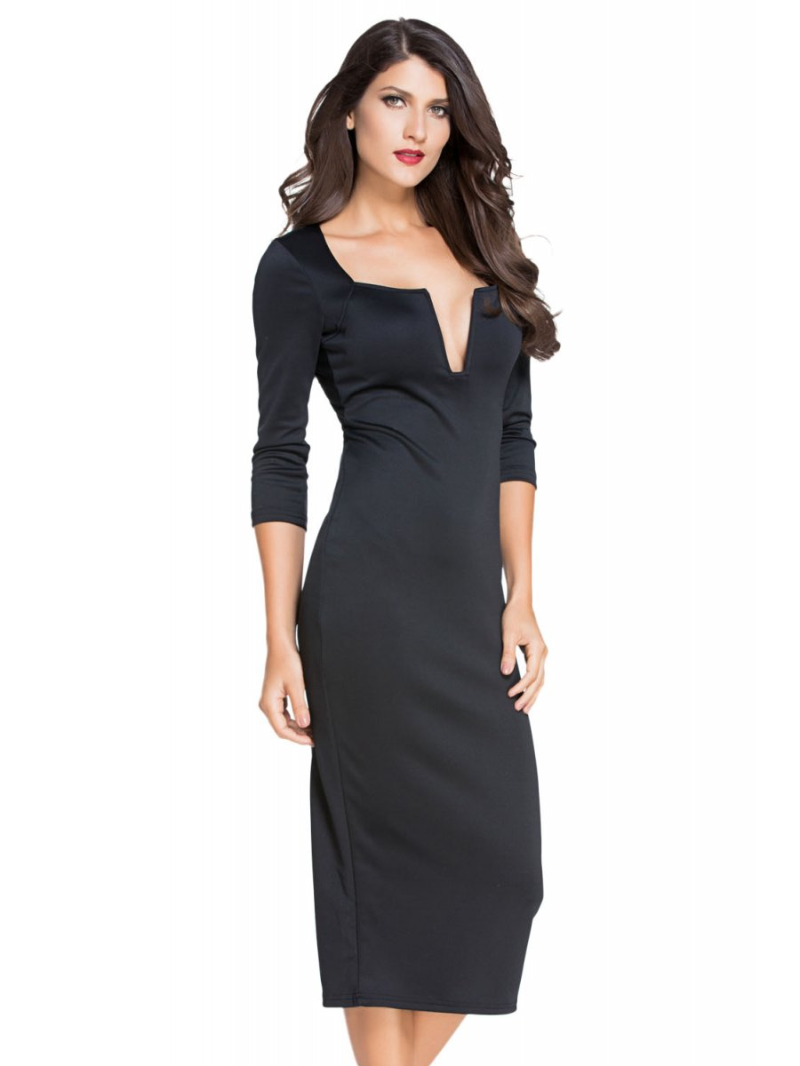 Black Plunging V Neck Party Midi Dress | E60012-2 | Cilory.com