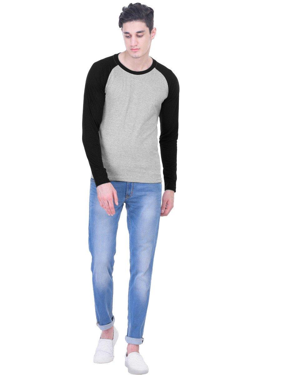 Nologo Grey & Black Round Neck Full Sleeve T Shirt | Nologo-fst ...