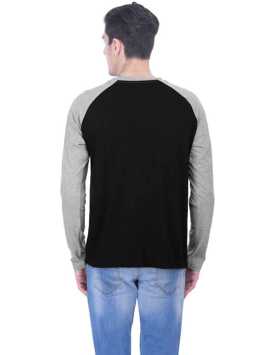 Nologo Black & Grey Round Neck Full Sleeve T Shirt | Nologo-fst ...