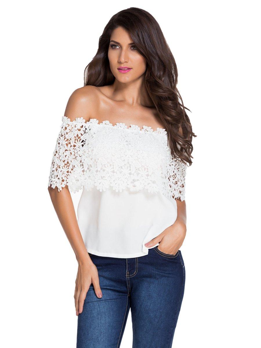 White Lace Spliced Off Shoulder Chiffon Top | E25684 ...