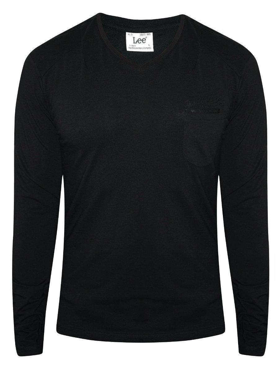 Lee black men 39 s v neck t shirt with pocket l18402943k99 for Men s v neck pocket tee shirts