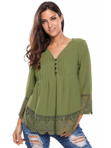 Army Green Lace Detail Button Up Sleeved Blouse at cilory