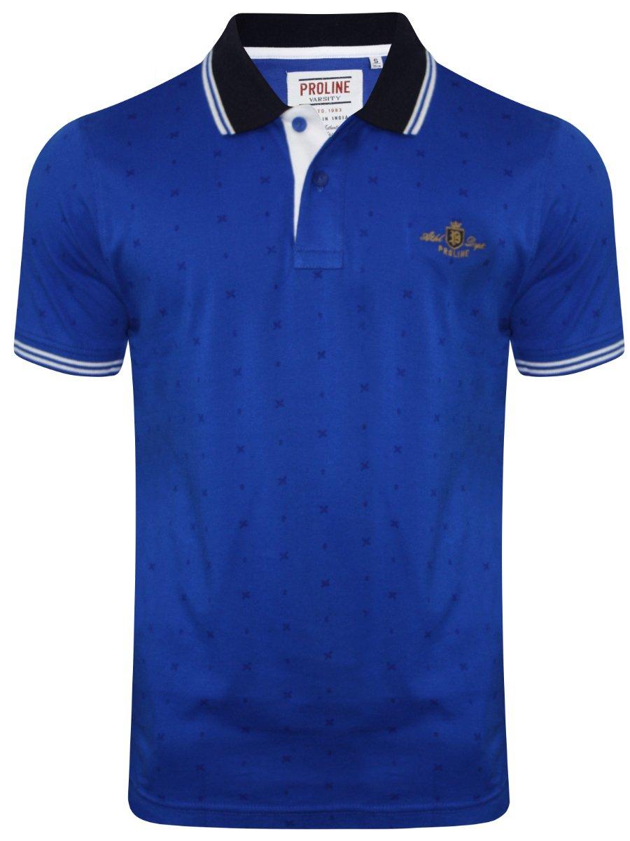 Proline royal blue printed polo t shirt pv12231 mb for Polo t shirt printing