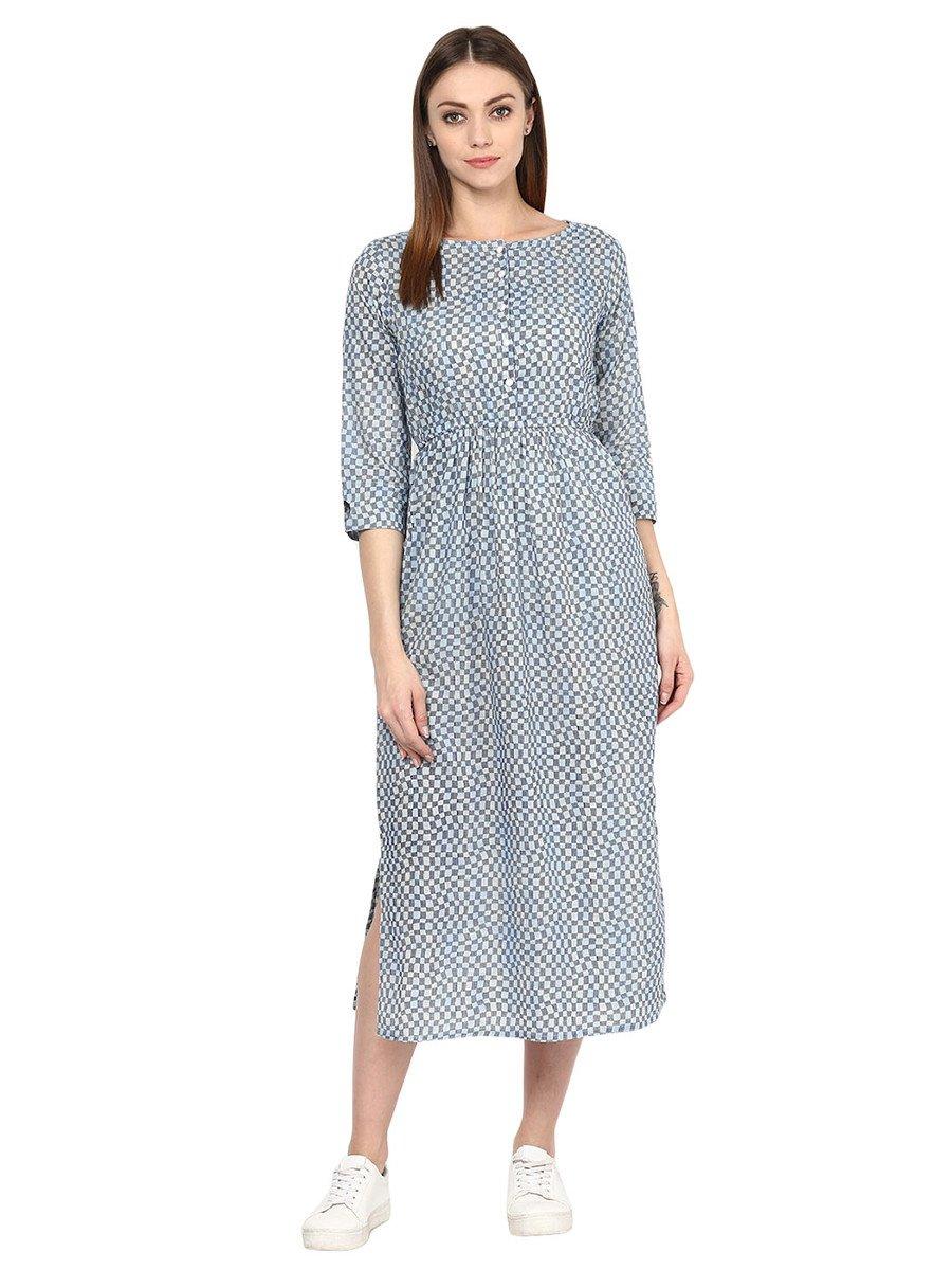 JK's Women Geometric Print Blue Cotton Dress