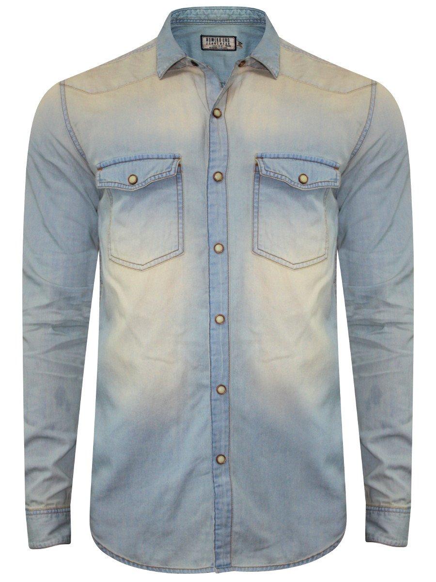 4f2c637723 Numero Uno Pure Cotton Blue Vintage Denim Shirt