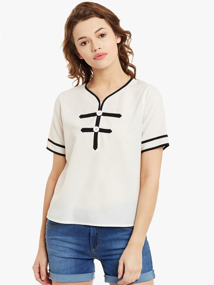 Primoknot Casual White Top