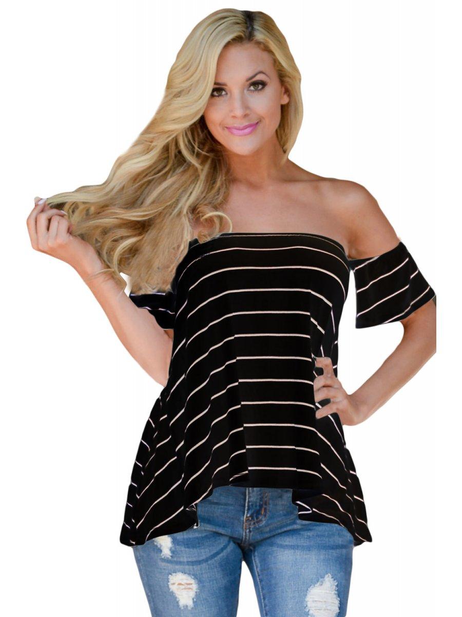 Black Striped Short Sleeve Off Shoulder Top