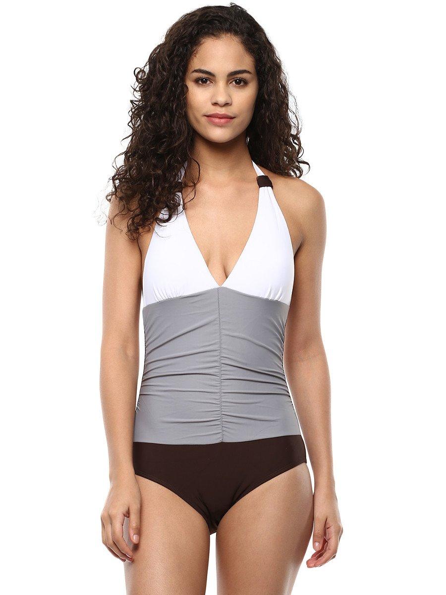 Pretty Secrets White Plunge Halter Neck Swimsuit