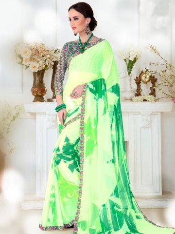 Falak Green Printed Saree at cilory