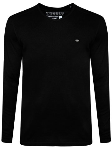 Numero Uno Black V-Neck Full Sleeves T-Shirt at cilory