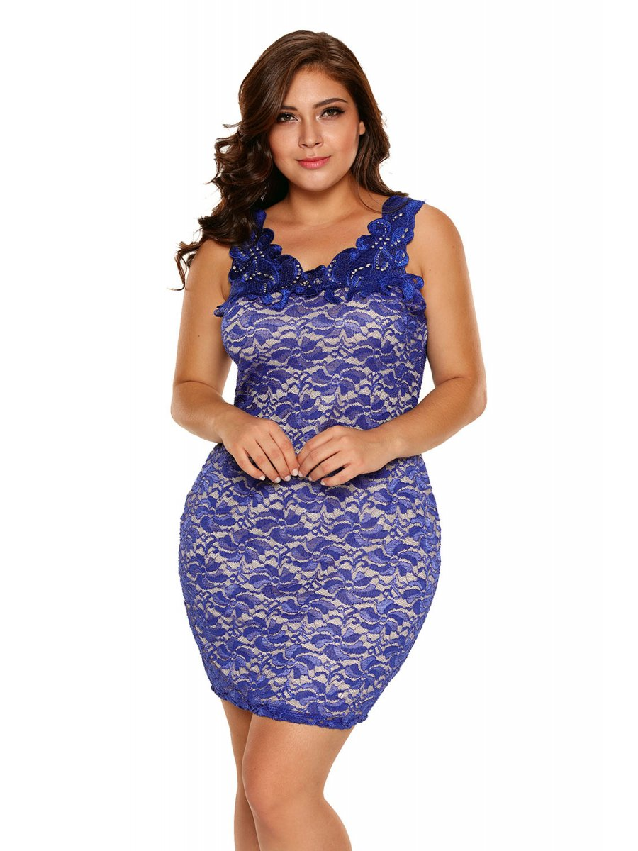 Blue Plus Size Floral Lace Bodycon Dress | E220095-5 | Cilory.com