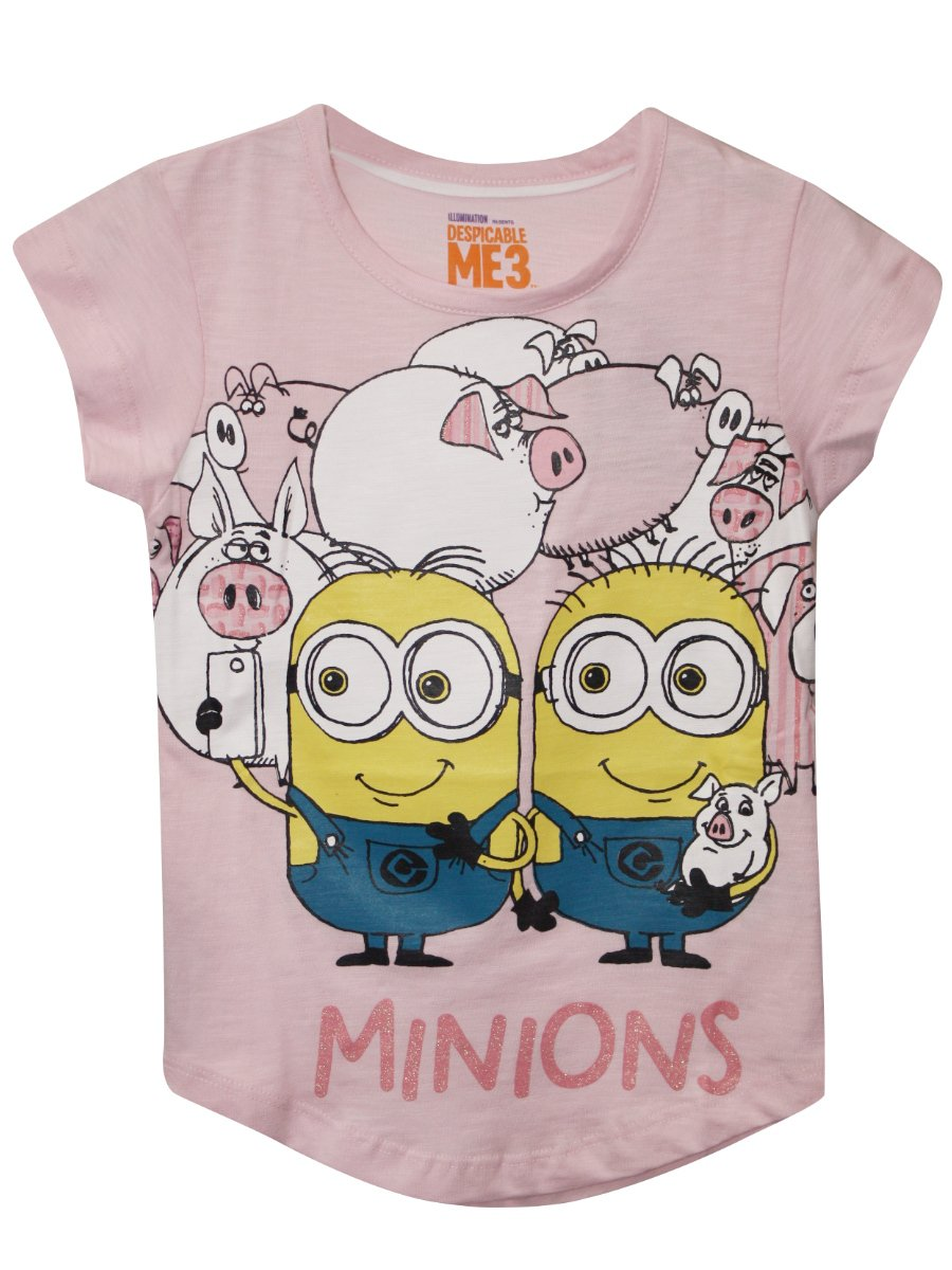 Minions Light Pink Tee for Girls