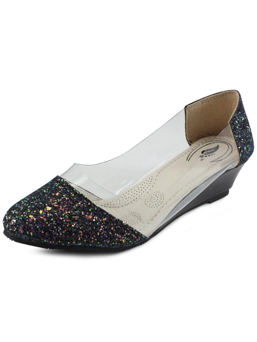 Estonished Black Shimmer Women Heels