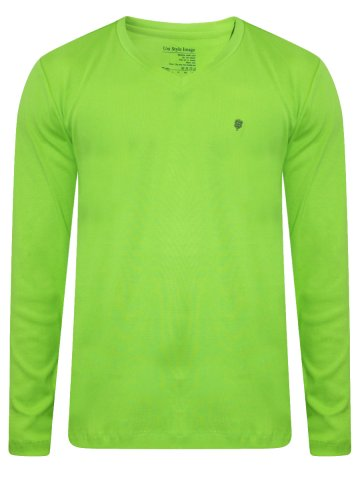 c7fa235bc8ca ... Lime Green Full Sleeves V-Neck T-Shirt.  https   d38jde2cfwaolo.cloudfront.net 289174-thickbox default uni-