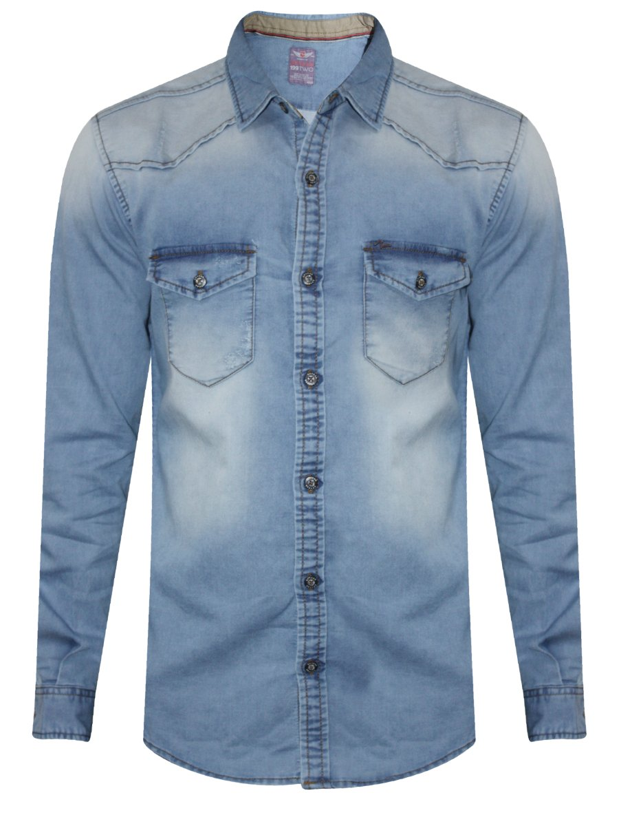 Spykar Light Blue Rugged Casual Denim Shirt