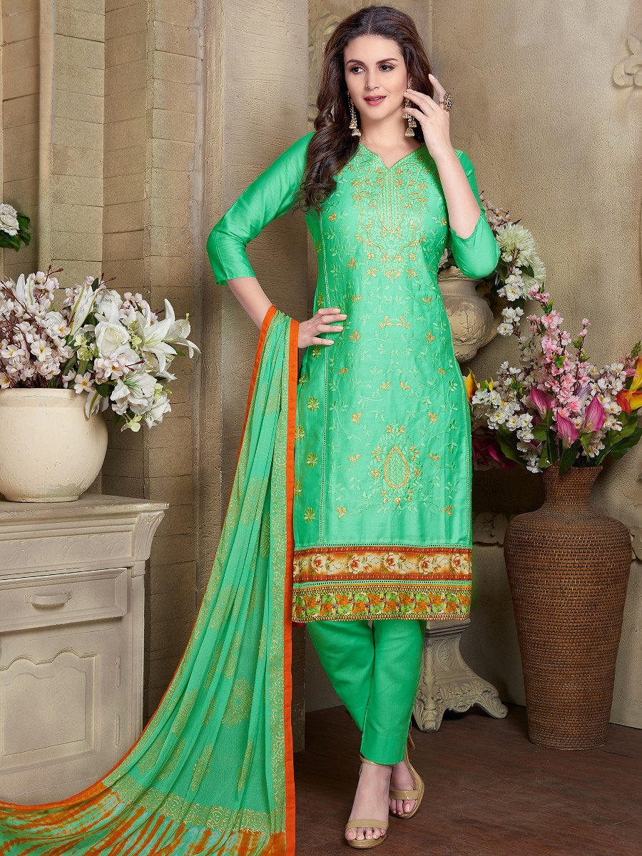 Prestige Green Semi Stitched Embroidered Suit