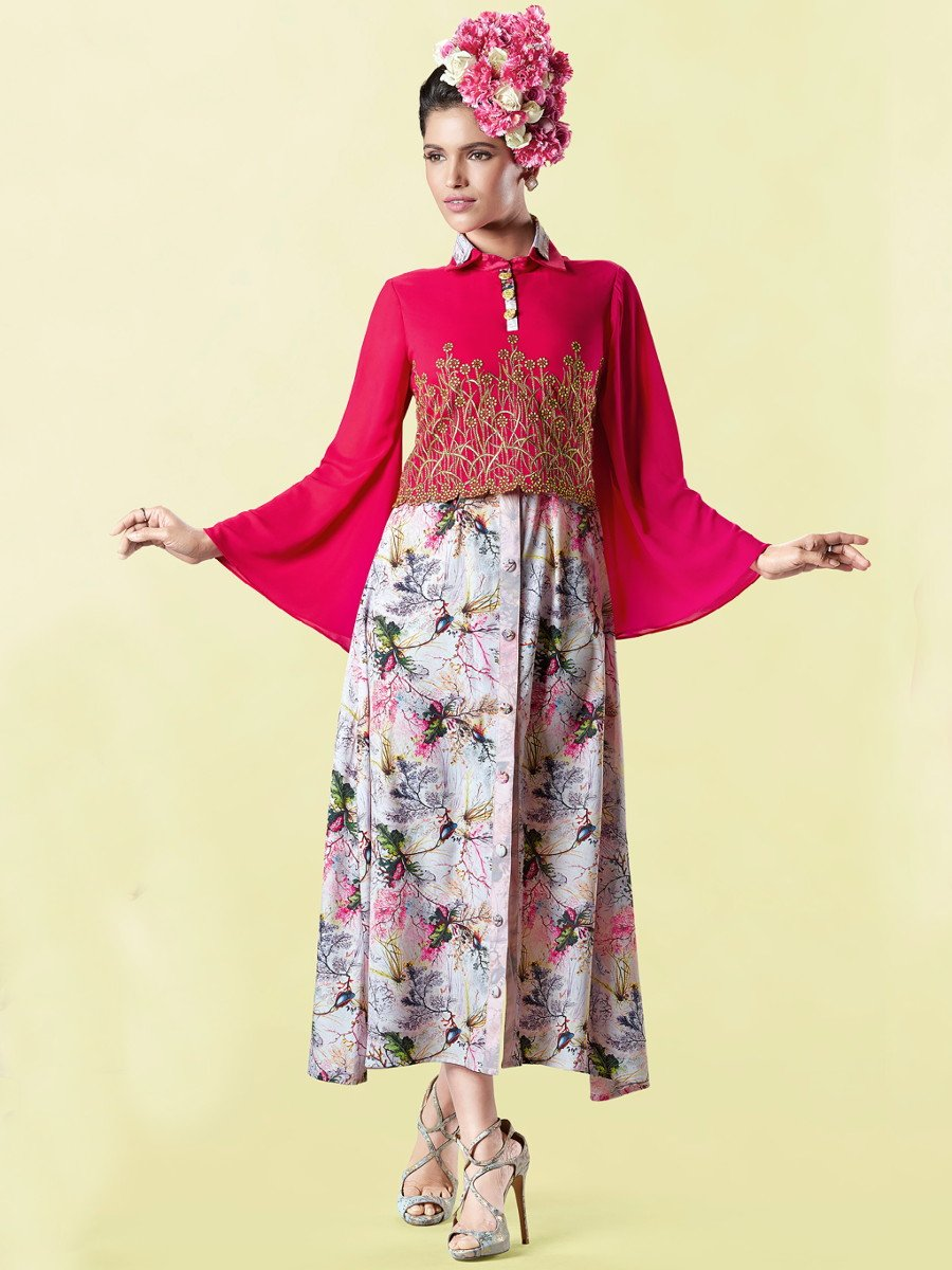 Mayra Multicolor Embroidered Kurti with Printed Inner