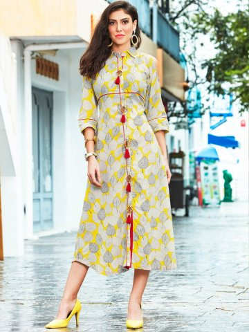 3c520649ead Adiba Off White   Yellow Rayon Cold Shoulder Printed Kurti ...