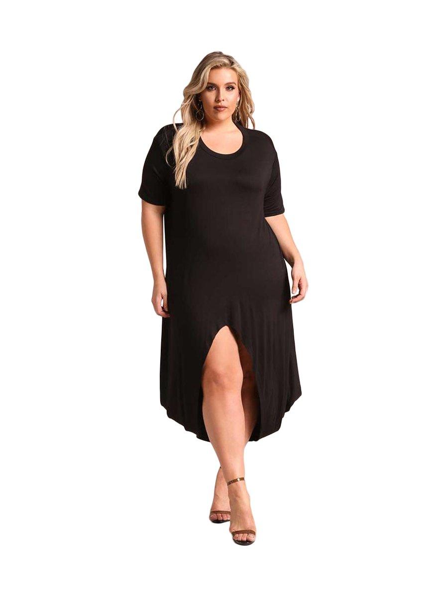 Black Plus Size Hi Lo Slit Jersey Knit Maxi Dress