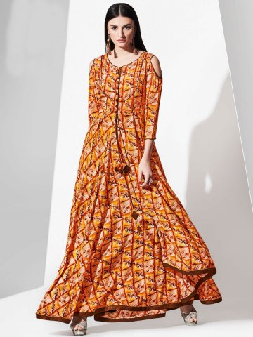 f18dcedff58 Blossom Brown   Orange Rayon Cotton Cold Shoulder Long Kurti ...