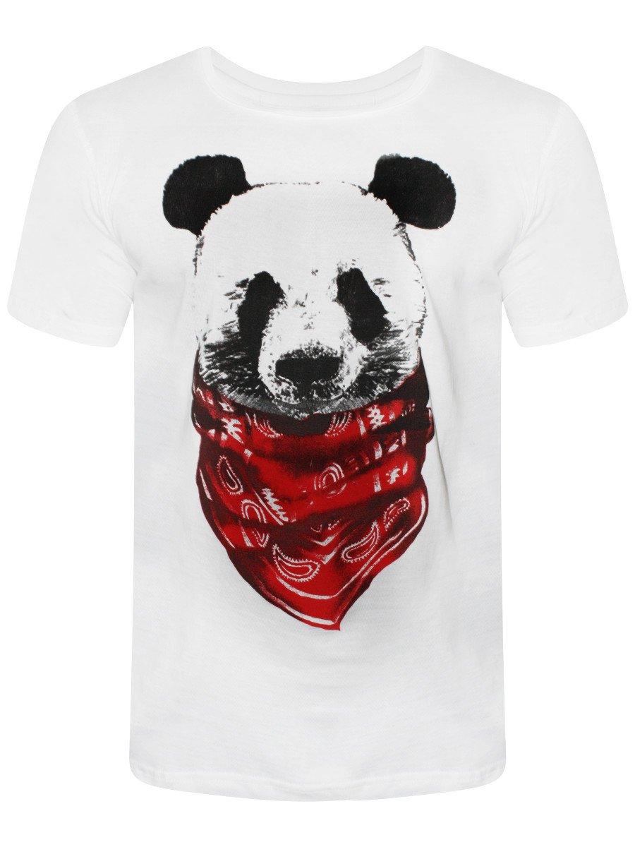 Slingshot Panda White Round Neck T Shirt