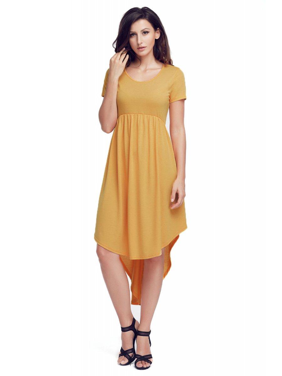 1c3ec0a69493f Rufous Short Sleeve High Low Pleated Casual Swing Dress   E220045-7 ...