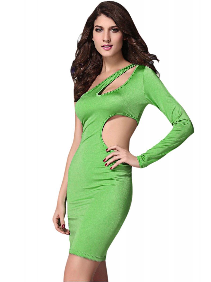 Green One shoulder Cutout Club Bodycon Dress