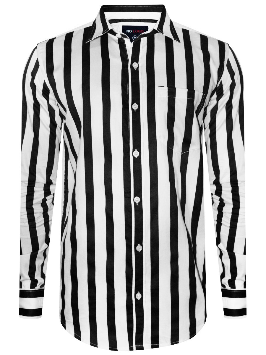 black and white striped shirt with flowers
