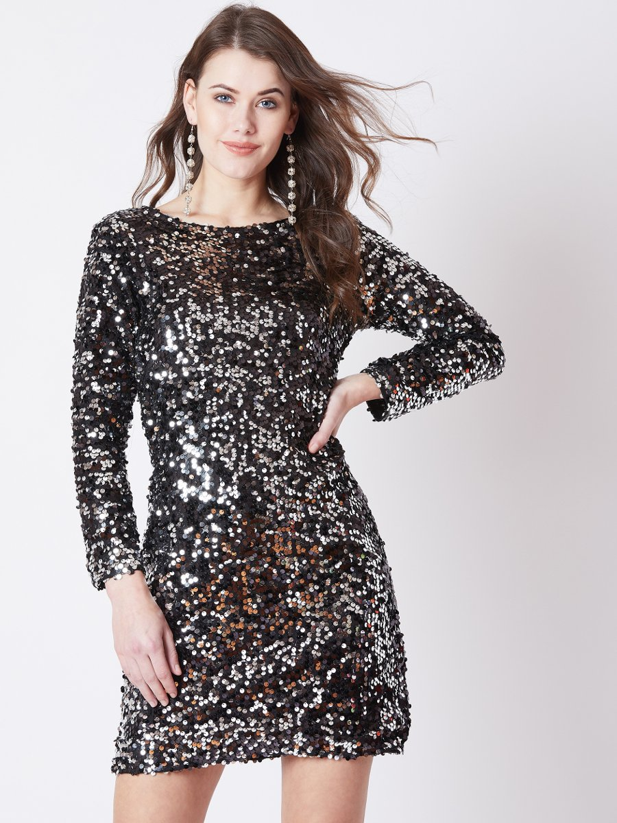 Estonished Silver Black Sequin Mini Dress
