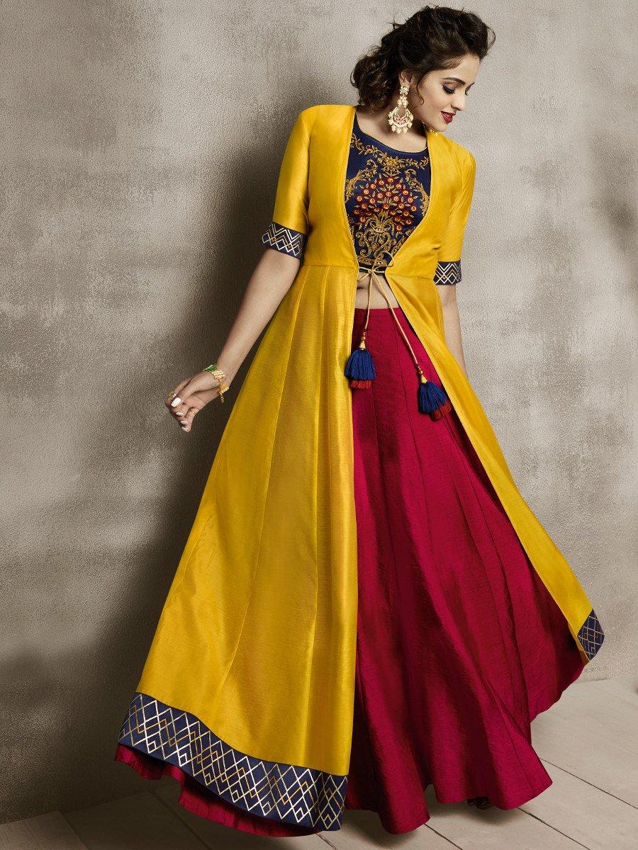 Nitya Stitched Blouse with Lehenga & Shrug | NITYA-3601 | Cilory.com