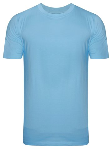NoLogo Cotton Sky Blue Round Neck T-Shirt at cilory