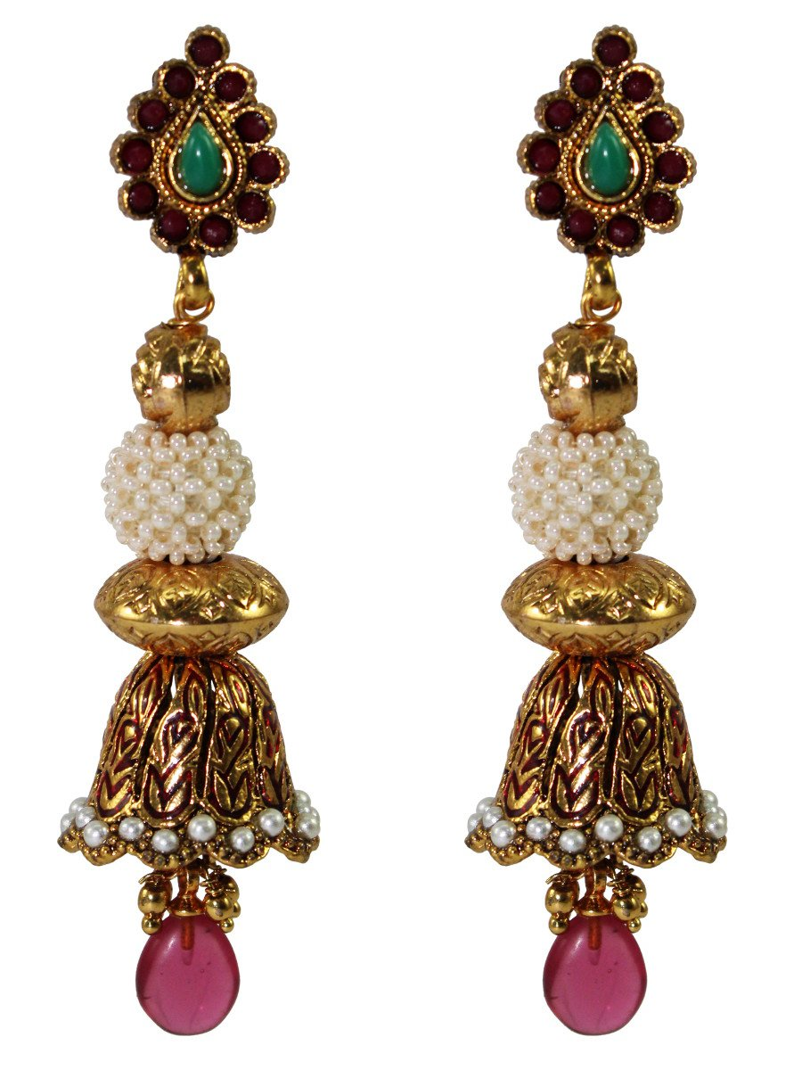 Antique Bell shaped earrings with red drops