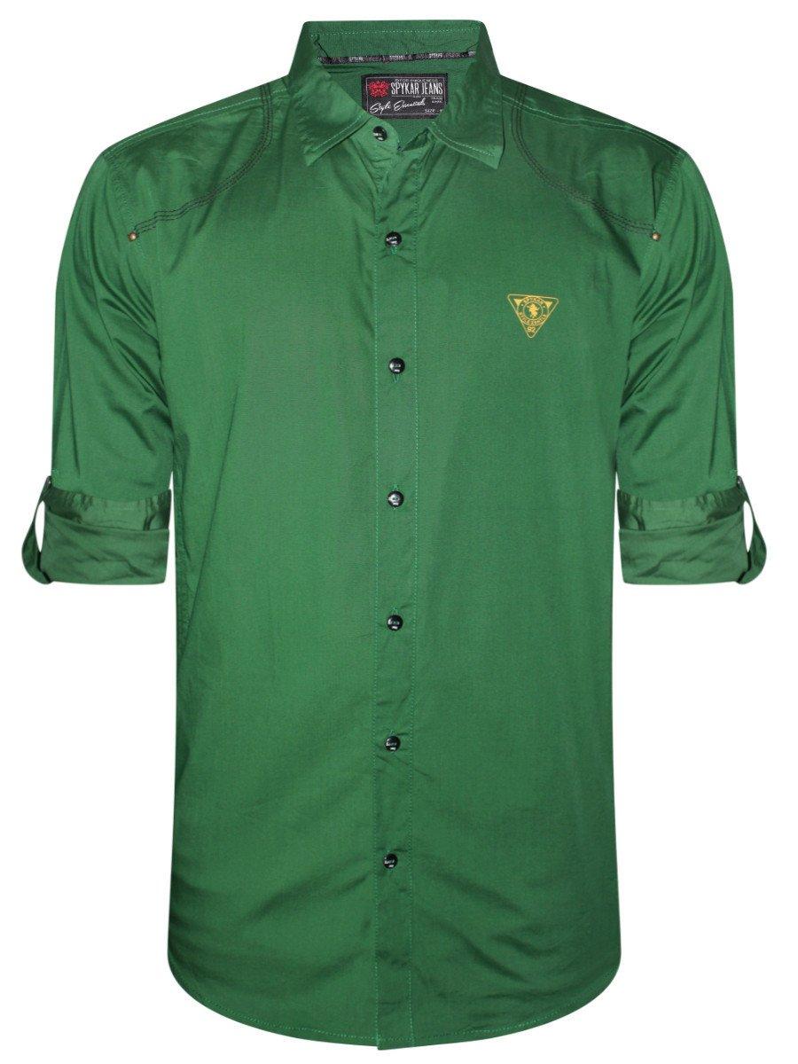 Spykar Men Bottle Green Casual Shirt