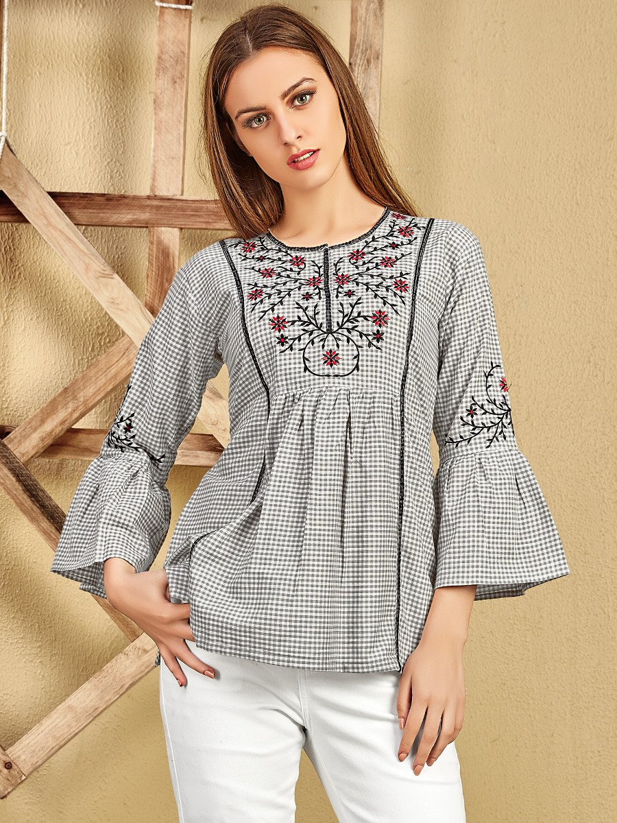 Brown Cotton Bell Sleeves Top
