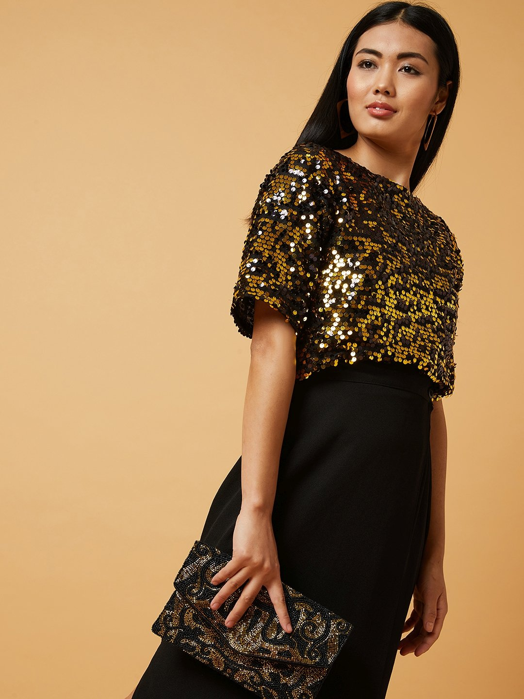 Estonished Copper Sequined Top