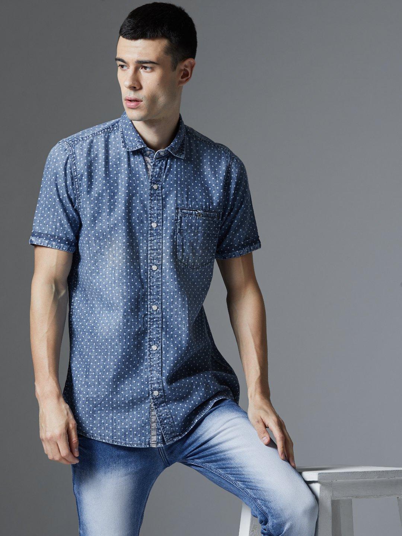 Lawman Pg3 Blue Casual Half Sleeves Shirt