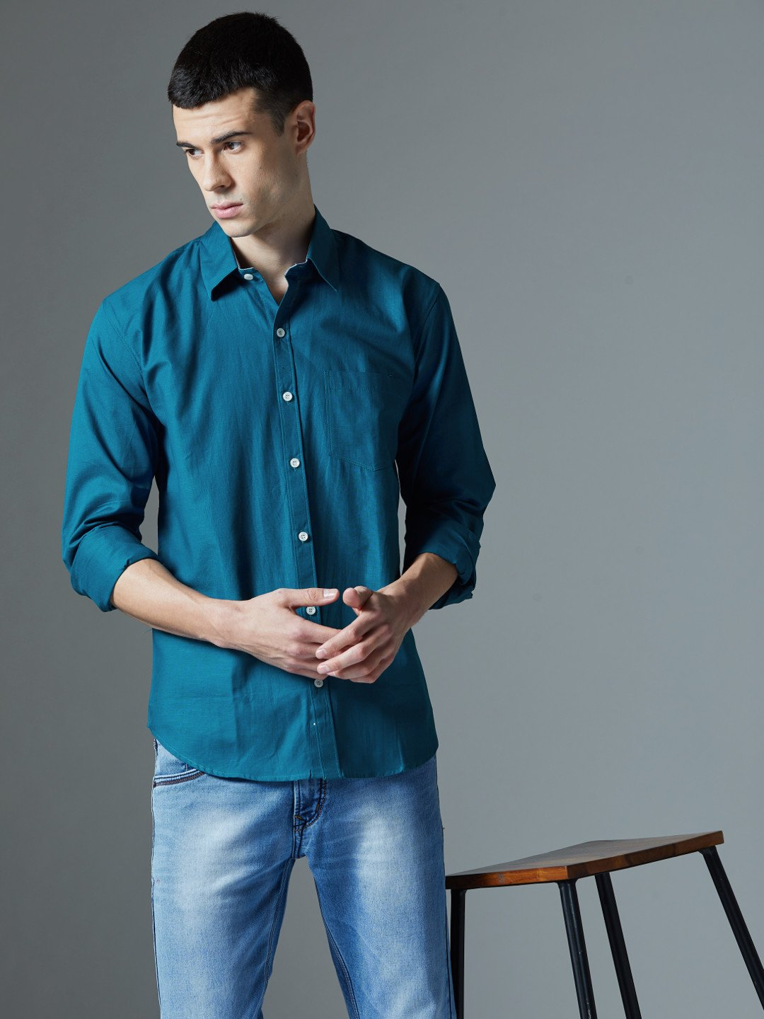 Cotton Linen Solid Casual Shirt By NoLogo