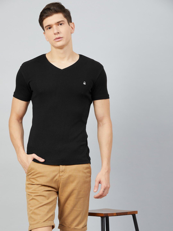 United Colors Of Benetton Black V Neck T Shirt