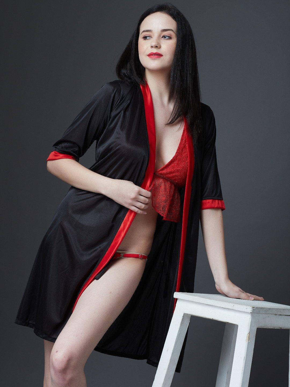 Estonished Red   Black 3 Pc Lingerie Set