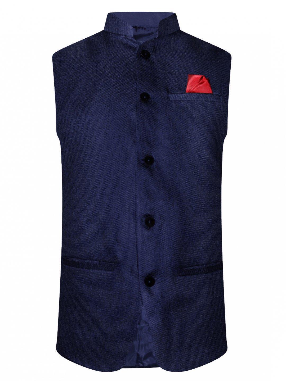 Navy Solid Sleeveless Nehru Jacket By NoLogo